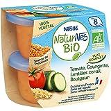 NESTLE NATURNES BIO Petits Pots Bébé Tomate, Courgette, Lentilles Corail, Boulgour Bio- 2x190g - Dès 8 mois