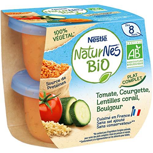 NESTLÉ Naturnes BIO - Petits Pots Bébé - Tomate, Courgette, Lentilles Corail, Boulgour - Dès 8 mois - 2x190g