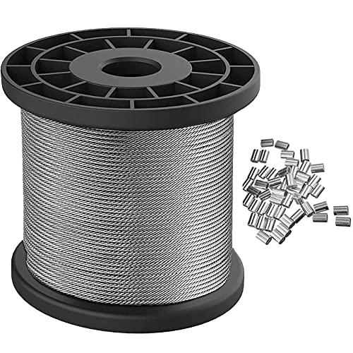 100m x 1,5 mm Cable Acero Inoxidable Cuerda Alambre para Colgar Fotos para Marco de Imagen Espejo Pintura Objetos Colgantes