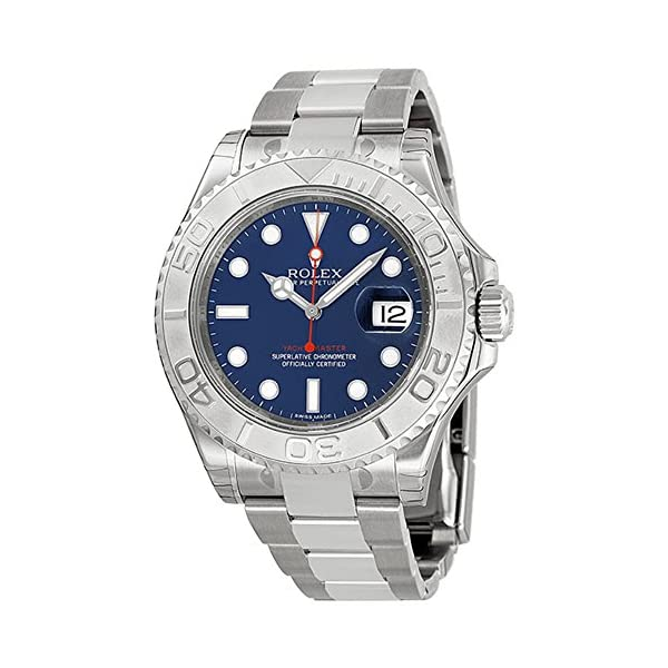 Fashion Shopping Rolex Yachtmaster Steel and Platinum Blue Dial Mens Watch 116622BLSO