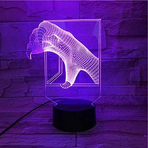 Lámpara De Ilusión De Luz Nocturna 3D, Modelo Luminoso Con Garra De...