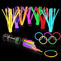 "Glow Sticks Bulk Party Supplies - Glow in The Dark Bracelets and Necklaces Party Pack, Includes 7 Vibrant Colors of 8""..."