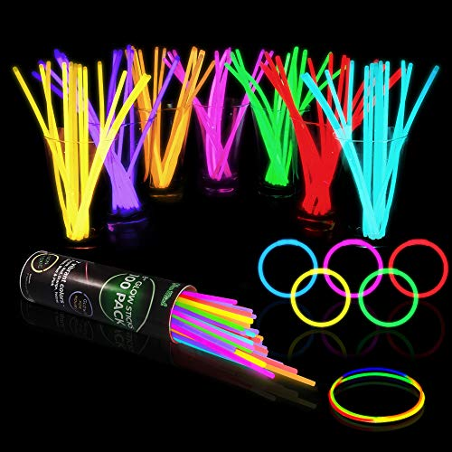 "100 Glow Sticks Bulk Party Supplies - Halloween Glow in The Dark Fun Party Pack with 8"" Glowsticks and Connectors for Bracelets and Necklaces for Kids and Adults"