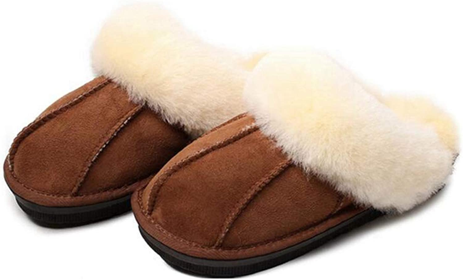 ASO-SLING Women's Memory Foam Slippers Faux Fur Lining Slip-on Clog Scuff Non-Skid House shoes for Indoor Outdoor