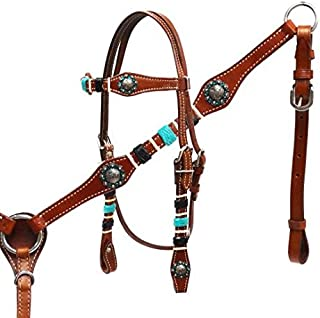 Showman Medium Leather Headstall and Breast Collar Set with Braided Rawhide