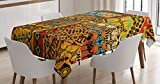 Ambesonne African Tablecloth, Grunge Collage with Motifs Traditional Art Ornate Geometric, Rectangular Table Cover for Dining Room Kitchen Decor, 60' X 90', Yellow Orange