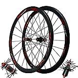 Ciclismo Ruedas 700c Ruedas Ciclismo Buje Fibra Carbono Tirador Recto Juego Ruedas Bicicleta Carretera 40mm Mate Llanta Aluminio Negra Freno C/V 7 8 9 10 11 Velocidad ( Color : Black Hub red logo )
