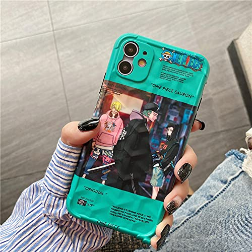 DNZJHHM One Piece Luffy Zoro Personality Creative Phone Case Cover Shell for Apple iPhone 11 Pro XS MAX X XR 8 7 12 Mini Plus 7p/8p-A08_For iPhone 12Pro MAX