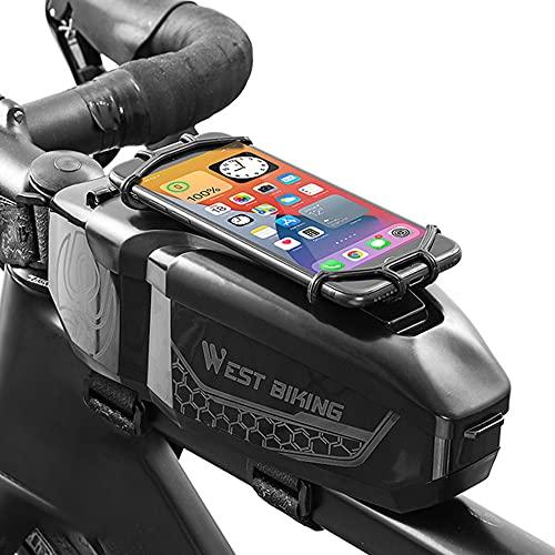 WHCL Bolso del Marco Delantero de la Bicicleta, Bolsa de Montaje del Tubo Superior de la Bicicleta, Bolsa Accesorios Ciclismo Impermeable con el Soporte teléfono y la Cubierta la Lluvia,Negro
