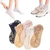 Amazing Crystal Peacock Sock- 5 Pairs Hollow Out Ultra-Thin Lace Socks, Peacock feather Pattern Ship Socks, Casual Breathable Sock (Coffee Color)