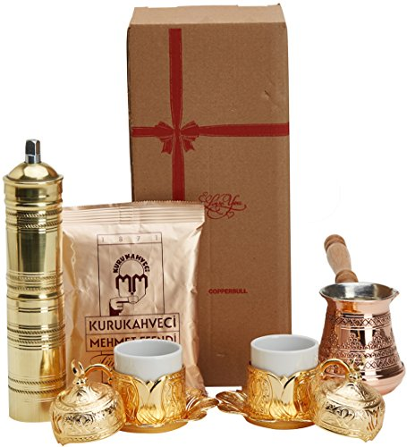 13 Pieces Turkish Greek Arabic Coffee Set with Pot Coffee Maker,Cup Saucer Sugar Dish Tray and Grinder Mill