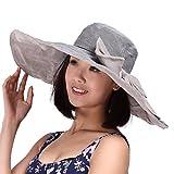 Zumuii - Sombrero de playa con protección UPF 50(plegable, lazo extraíble, diseño femenino), gris