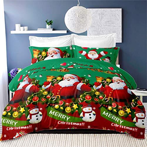 Green Christmas Bedding Santa Claus Duvet Cover King Size,3Pcs Snowman Quilt Cover Cartoon Deer Snowflake Bedding New Year Decoration Pillowcase