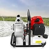 sujrtuj 43cc 2-Takt Benzin Wasserpumpe 1250W 1500L/H Gartenpumpe Wasserpumpe für Bewässerung Teichpumpe Brunnenpump