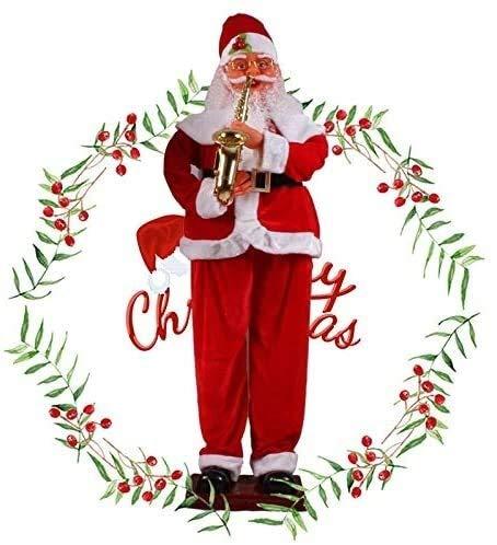 WLYX Electric Induction Weihnachten Old Man 1.8 Meter Klassisches Saxophon Musik Elektro Willkommen Old Man (Size : 1.8m)