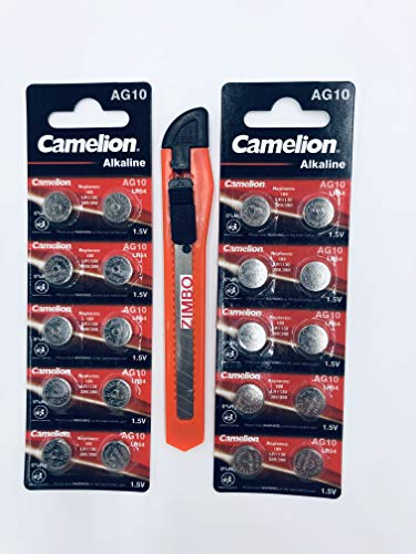 20 Stück Camelion Knopfzelle Alkaline Batterie LR 1130 AG10 1,5V +1x Cuttermesser by Zimbo gratis