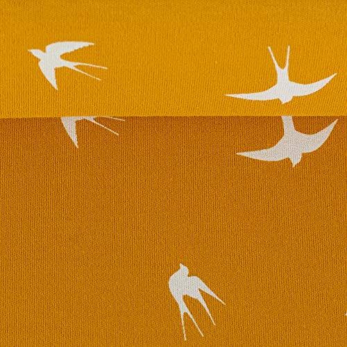 Kenny Interlockjersey Schwalben senf-naturweiß 50 x 155 cm Meterware