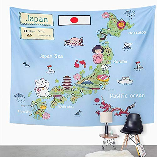 Y·JIANG Tapiz de dibujos animados, mapa de dibujos animados de Japón, tapiz decorativo grande, manta de pared ancha para colgar en la sala de estar, dormitorio, 80 x 60 pulgadas