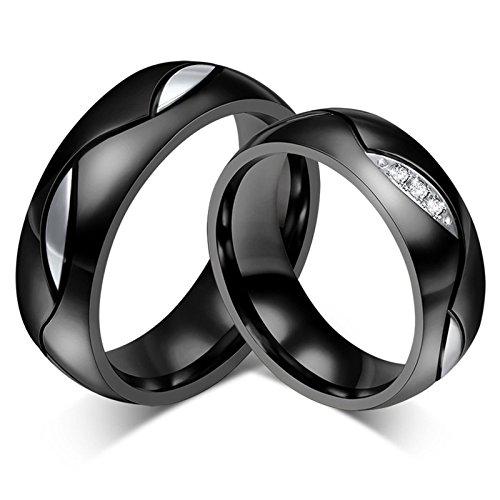 Blisfille 2 Piezas Anillos de Diamantes de Oro de Verdad Acero Inoxidable de Cúbicos Zirconia para Compromiso O Boda Forma Redonda Negro