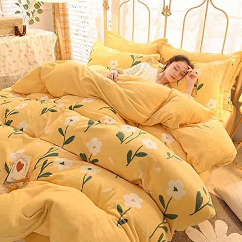 Bedding-LZ Funda de edredón 150-Invierno Grueso cálido edredón Reversible sábanas de Dormitorio de Estudiantes Ropa de Cama de Franela de Doble Cara Regalo-K_Cama de 1,2 m (3 Piezas)