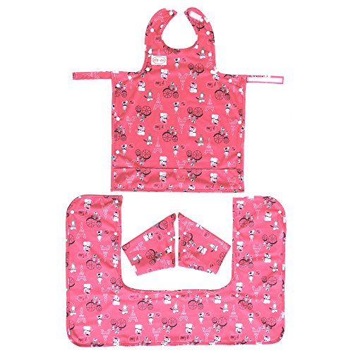Bib-On Plus, Full-Coverage Bib and Apron Combination for Infant, Baby, Toddler Ages 0-4. (French Mice)