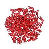 VOSAREA - 100 clips para fotos de madera, mini papel, pinzas de ropa para bodas, corcho, Consejo, colgantes, fotos, pintura, artesanía, artesanía, color rojo