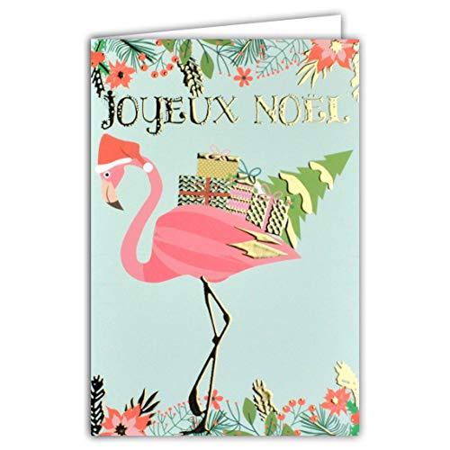 Kaart Vrolijk Kerstmis Flamingo muts kerstman geschenken kerstboom bloemen bessen rood goud verguld