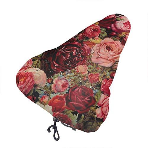 Sillín de bicicleta no aplicable con diseño de flores blancas extra suave – Cojín para sillín de bicicleta con cubierta resistente al agua y al polvo, Patrón vintage de rosa de San Valentín., talla única