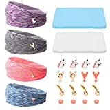 Sayopin 10Pcs Upgrade Wide Headbands with Adjustable Buttons for Face Mask, Non-Slip Men and Womens Headbands with 2 Portable Face Mask Storage Case, Elastic Hair Band for Yoga Sports Turban (Workout)