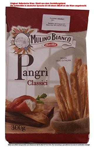 Mulino Bianco Pangri Grissini rustici 4 x 300g = 1200g Salzige Backware Grissini Brotstangen