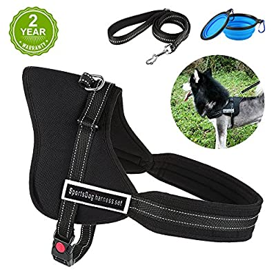 HonFei Dog Harness, No Pull Dog Harness with Reflective Pet Leash, Pet Vest Harness with 2 Gift Bowls for Training Dogs/Multifunction Pet Dog Leash Set Reflective Dog Car Seat Belt with Pet Collar