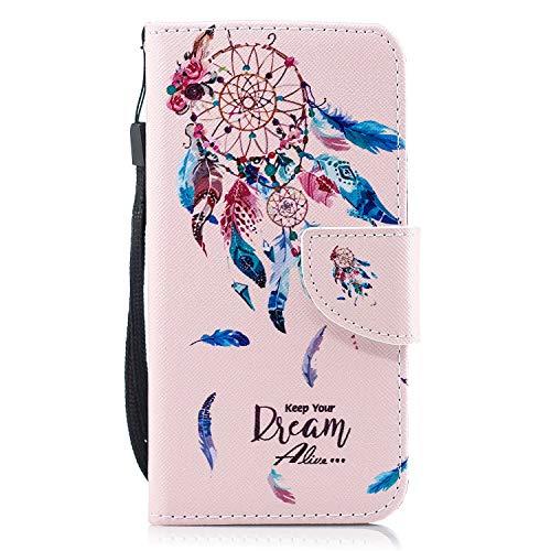 Kompatibel mit Hülle Huawei Y3 2017 Handytasche Handyhülle Flip Case Tasche Schutzhülle Luxus Vintage Bunt Brieftasche Hülle Ledertasche Dünn Klappbar Lederhülle Bookstyle Klapphülle,Traumfänger