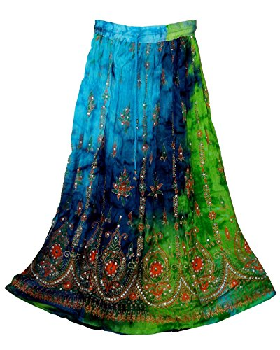 Radhykrishnafashions Indian Yoga vrouwen Sequined Crinkle Broomstick Gypsy lange rok, trouwjurk.