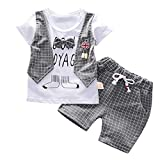 Fossen Ropa Bebe Niño Verano 2019 - Camiseta Manga Corta + Pantalones Cortos a Cuadros - para 0-3 Años Recien Nacido Bebé Conjunto de Dos Piezas (12-18 Meses, Gris)