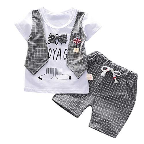 Fossen Ropa Bebe Niño Verano 2019 - Camiseta Manga Corta + Pantalones Cortos a Cuadros - para 0-3 Años Recien Nacido Bebé Conjunto de Dos Piezas (6-12 Meses, Gris)
