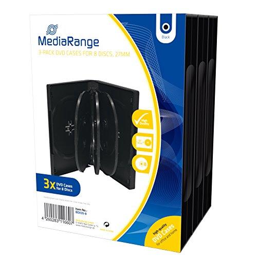MediaRange BOX35-8 Caja transparente para CD 8discos Negro funda para discos ópticos - Fundas para discos ópticos (Caja transparente para CD, 8 discos, Negro, De plástico, 120 mm, Resistente al polvo, Resistente a rayones)