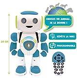 Lexibook- Powerman Jr. Robot Intelligent Qui lit dans Les pensées-Jouet pour garçons et Filles-Danse, Joue de la Musique, Quiz Animaux, programmable STEM, Vert/Bleu, ROB20FR