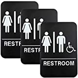 Plastic Restroom Sign: Easy to Mount with Braille (ADA Compliant), Great for Business - 6'x9', Unisex, Handicap - Pack of 3