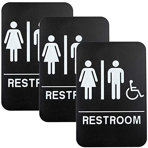 """Plastic Restroom Sign: Easy to Mount with Braille (ADA Compliant), Great for Business - 6""""x9"""", Unisex, Handicap - Pack of 3"""
