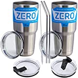 Stainless Steel Tumbler with Lid, Double Wall Vacuum Insulated Travel Mug for Hot and Cold Drink by Zero Degree (30oz 2 Pack)