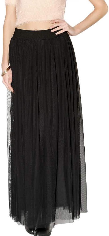 Kiki Riki Womens Long Floor Length Tulle Skirt Style, Elastic Waistband 4910