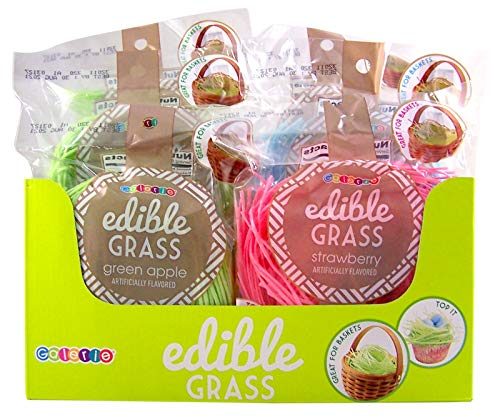 Assorted Strawberry, Blueberry, Green Apple Fruit Flavored Edible Easter Grass, Pack of 6 by Galerie