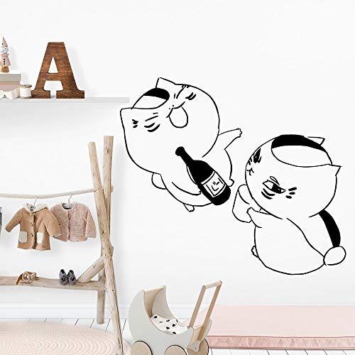 Black Cat Wine Stickers Wall Stickers Living Room Painting Room Nordic Home Decor