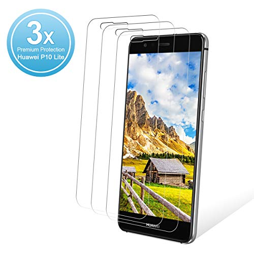 K-SLWX 3 Piezas Protector de Pantalla para Huawei P10 Lite,2.5D Round Edge Cristal Templado,9H Dureza,Alta Definicion y Sensibilidad,Sin Burbujas,P10 Lite Vidrio Templado