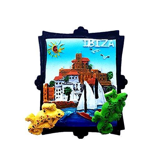Imán para nevera de resina 3D con diseño de Time Traveler Go Ibiza España, regalo para decoración del hogar y la cocina, imán magnético para nevera