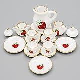 Odoria 1/12 Miniatur Geschirr 15 Stück Porzellan Erdbeere Teeservice Set Für Puppenhaus Küche...