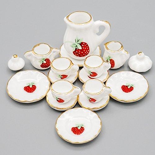 Odoria 1/12 Miniatur Geschirr 15 Stück Porzellan Erdbeere Teeservice Set Für Puppenhaus Küche Zubehör