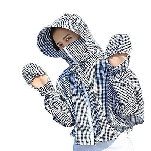 YLYX Ropa de protección Solar Mujer Blusas Rompevientos Abrigos Camisas de Manga Larga Ancha Protección UV Capa Chal Gabardina Viento y Polvo Chaqueta Capucha Deporte al Aire Libre Ropa