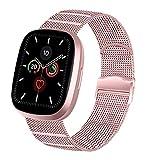 Vanjua Metal Correa Compatible con Apple Watch Correa 44mm 42mm 38mm 40mm,Pulsera de Repuesto de Inoxidable Correa para iWatch Series 6 5 4 3 2 1,Mujer y Hombre (38mm/40mm, 04 Rosa)