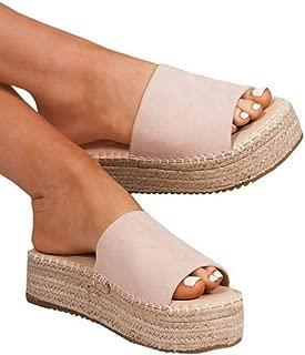 Womens Slip On Platform Espadrille Sandals Open Toe Flat Casual Summer Slides